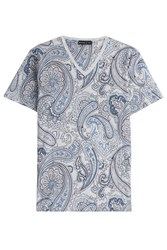 Etro Printed Cotton T Shirt Blue