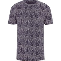 Only And Sons River Island Mens Blue Fractured Print T Shirt
