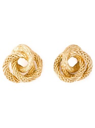 Christian Dior Vintage Twisted Clip On Earrings Metallic