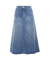Mother Double Fray Circle Denim Skirt Blue