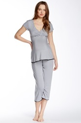 Majamas Lacey Crop Maternity Nursing Pj Set Multi