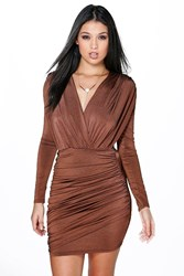 Boohoo Slinky Wrap Long Sleeve Bodycon Dress Chocolate