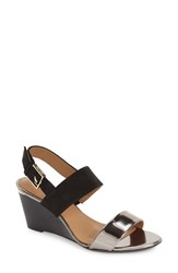Women's Calvin Klein 'Pearla' Wedge Sandal Anthracite Black Leather