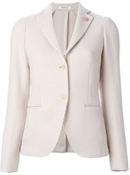 Lardini Textured Fitted Blazer Nude And Neutrals