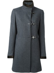 Fay Dislocated Fastening Mid Length Coat Grey