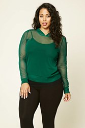 Forever 21 Plus Size Hooded Open Mesh Top
