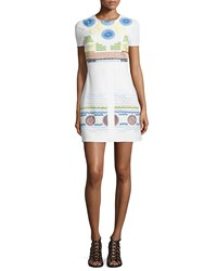 Peter Pilotto Embroidered Circle Print Shift Dress White
