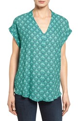 Pleione Petite Women's High Low V Neck Mixed Media Top Mint Arrow Bars