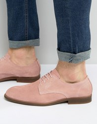 Asos Derby Shoes In Relaxed Pink Suede Pink