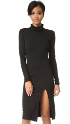 Bobi Slit Turtleneck Dress Black