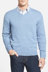 John W. Nordstrom Cotton Blend V Neck Sweater Blue