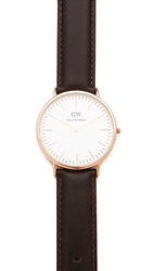 Daniel Wellington Cardiff 40Mm Watch With Brown Leather Band Rose Gold