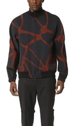 3.1 Phillip Lim Mock Neck Zip Jacket With Combo Sleeve Cuffs Black Rust