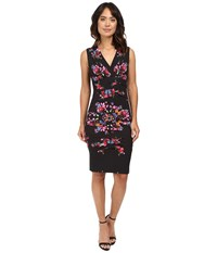 Nicole Miller Dakota V Neck Bohemian Fleur Jersey Dress Multi Women's Dress