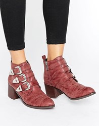 Park Lane Western Buckle Trim Boots Red