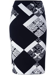 Roland Mouret Printed Straight Skirt Black
