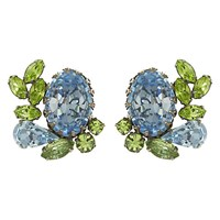 Eclectica Vintage 1950S Vendome Chrome Plated Glass Stone Clip On Oval Earrings Aqua Peridot Green