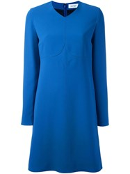 Courreges Long Sleeve Shift Dress Blue