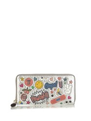Anya Hindmarch All Over Stickers Zip Around Leather Wallet Silver Multi