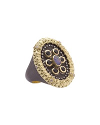 Armenta Mixed Metal And Gemstone Carved Ring Grey