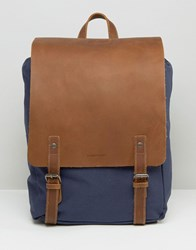 Forbes And Lewis Leather Devon Backpack In Navy Blue