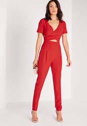 Missguided Crepe Cross Front Jumpsuit Red Red