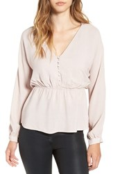 Astr Women's Button Up Blouson Top