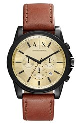 Armani Exchange Men's Ax Outerbanks Chronograph Leather Strap Watch 44Mm