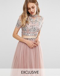 Maya Embellished High Neck Crop Top Pale Mauve Pink