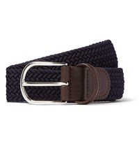 Andersons 3.5Cm Midnight Blue Woven Waxed Cord Belt Blue