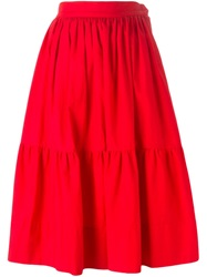 Yves Saint Laurent Vintage Midi Peasant Skirt Red