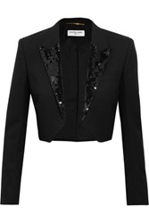 Saint Laurent Cropped Sequin Embellished Wool Crepe Blazer Black