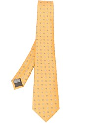 Canali Embroidered Tie Yellow And Orange