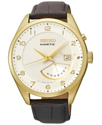 Seiko Men's Kinetic Retrograde Brown Leather Strap Watch 42Mm Srn052