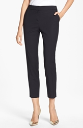 St. John 'Emma' Tropical Wool Crop Pants Caviar