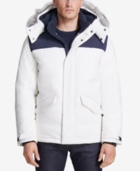 Vry Wrm Men's Free Ride Nordic Stretch Hooded Puffer Coat White