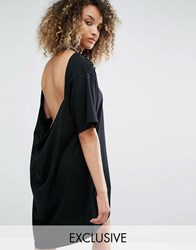 Milk It Vintage Oversized Distressed T Shirt Dress With Open Back Black