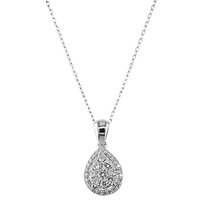 Ewa 18Ct White Gold 0.44Ct Diamond Cluster Peardrop Pendant