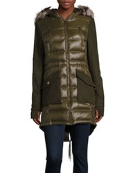 Bcbgeneration Faux Fur Accented Contrast Coat Army Green