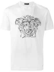 Versace Painted Metallic Medusa T Shirt White
