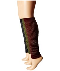 Steve Madden 3 Pack Leg Warmer Burgundy Olive Black Women's Knee High Socks Shoes Multi