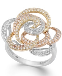 Effy Collection Trio By Effy Diamond Tri Tone Flower Ring In 14K Gold 5 8 Ct. T.W.