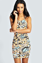 Boohoo Tropical Print Strappy Bodycon Dress Multi