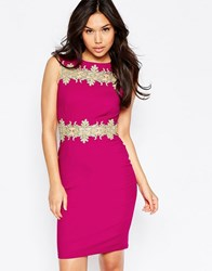 Paper Dolls Midi Dress With Gold Lace Trim Berry Red