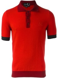 Fred Perry Raf Simons X Colour Block Polo Shirt Red