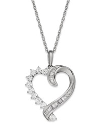 Macy's Diamond Baguette Swirl Heart Pendant Necklace In 10K White Gold 1 2 Ct. T.W