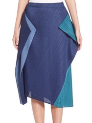Issey Miyake Asymmetrical Colorblock Pencil Skirt Blue