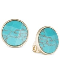 Anne Klein Gold Tone Bezel Set Stone Clip On Earrings Turquoise