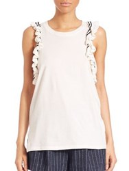 3.1 Phillip Lim Ruffle Trimmed Cut In Tank Top Antique White