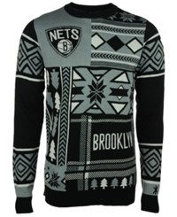 Forever Collectibles Men's Brooklyn Nets Patches Christmas Sweater Black Gray